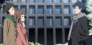 サラリーマン・三上悟と、後輩・田村の彼女である沢渡美穂の会話シーン